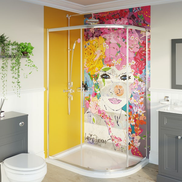 Louise Dear The Serenade Yellow acrylic shower wall panel pack with left handed offset quadrant enclosure