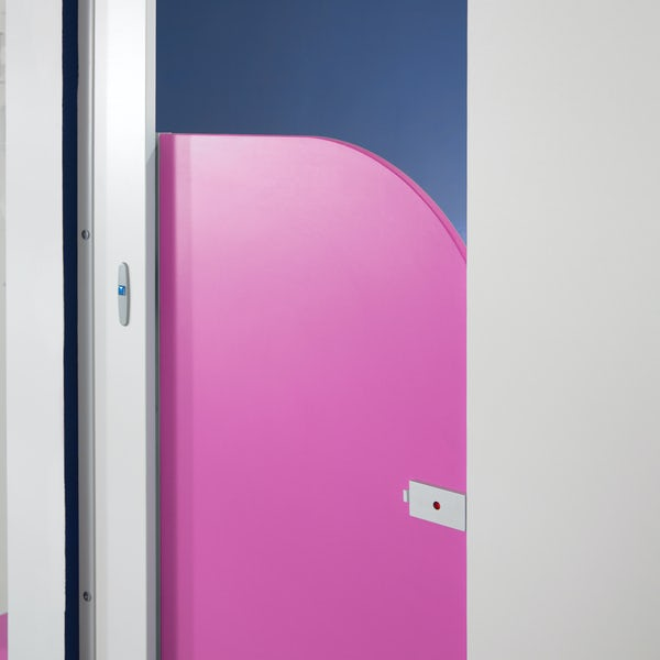 Pendle dragonfruit junior toilet cubicle door pack with white pilasters