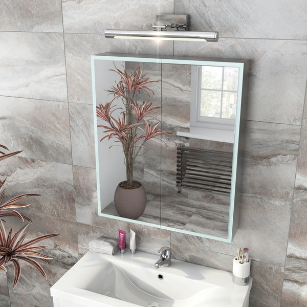 Mode Mayne LED illuminated mirror cabinet 700 x 600mm with demister & charging socket