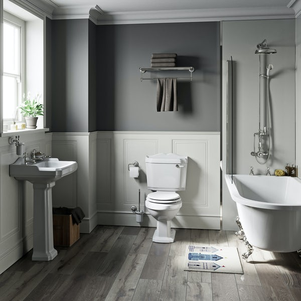 The Bath Co. Winchester white freestanding shower bath suite