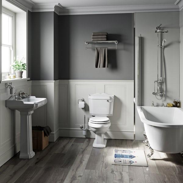 The Bath Co. Winchester white freestanding shower bath suite