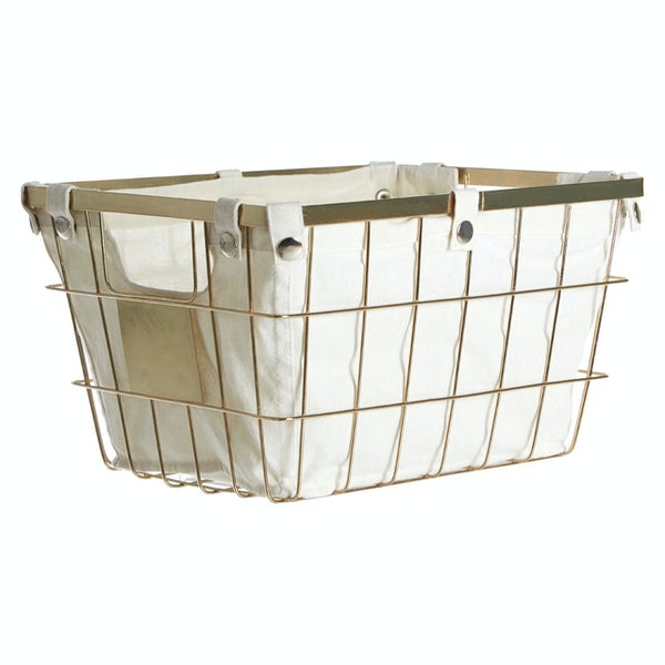 Gold finish large storage basket with cotton liner