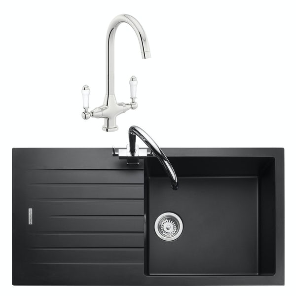 Rangemaster Andesite 1.0 bowl granite kitchen sink with waste and Schon traditional kitchen tap