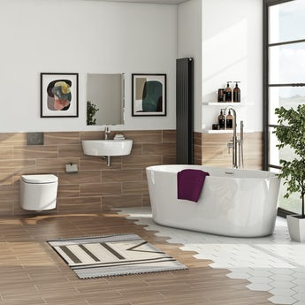 Mode Tate  bathroom suite with freestanding bath, radiator and taps
