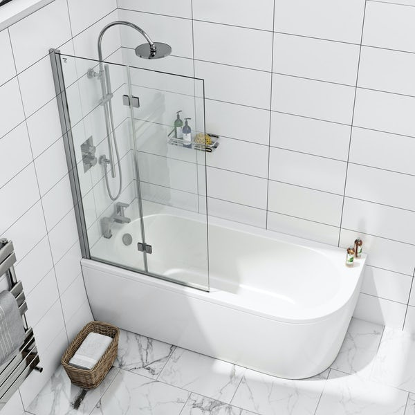 8mm square top left handed double panel folding bath screen