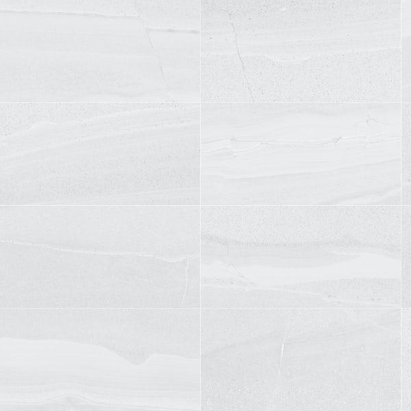 Cavalla white stone effect flat matt wall and floor tile 300mm x 600mm