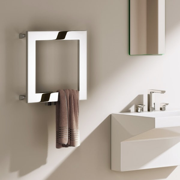 Reina Square stainless steel designer towel rail 450 x 450