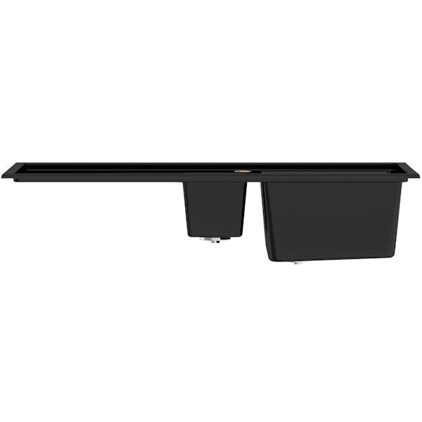 Bristan Gallery quartz left handed black easyfit 1.5 bowl kitchen sink with Melba black tap