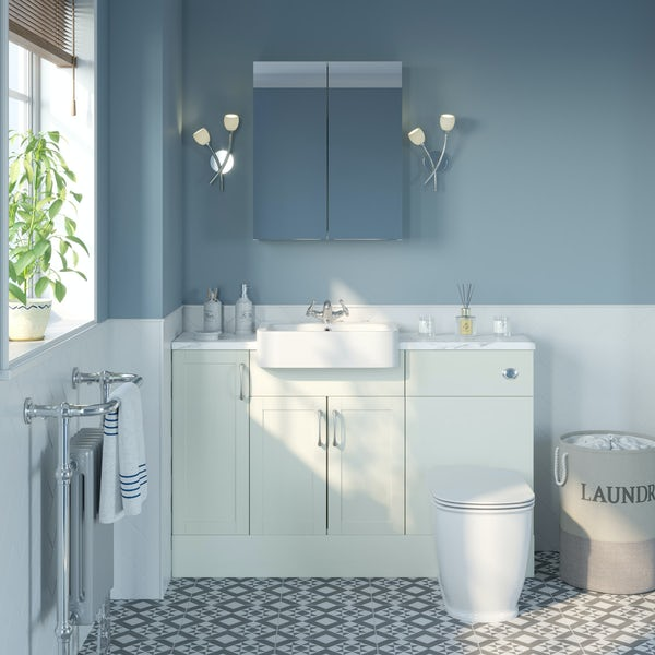 The Bath Co. Newbury white small fitted furniture & mirror combination with white marble worktop