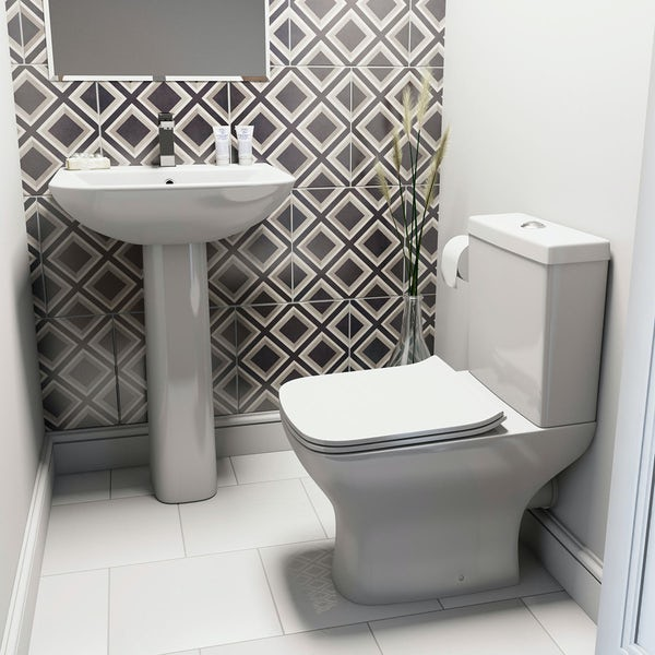 Derwent Square Close Coupled Toilet and Full Pedestal Basin