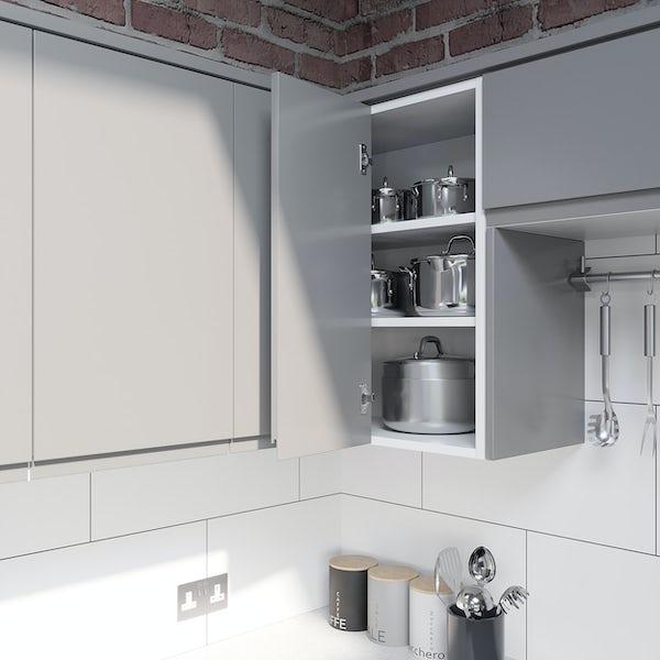Schon Chicago light grey handleless 600mm corner wall unit