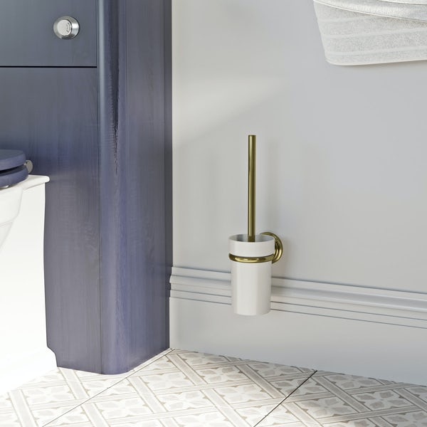The Bath Co. 1805 gold toilet brush and holder