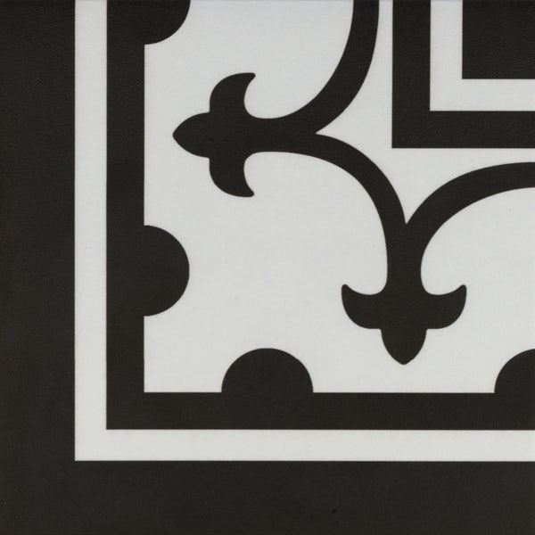 Girona corner black traditional matt wall and floor tile 200mm x 200mm