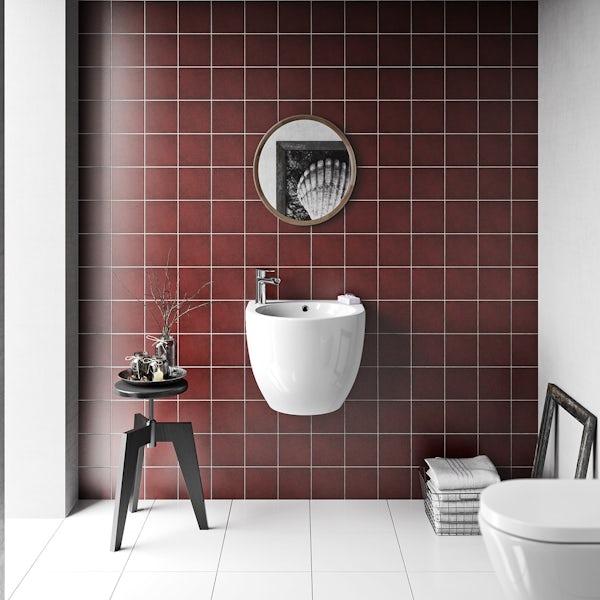 British Ceramic Tile Patchwork plain red matt tile 142mm x 142mm