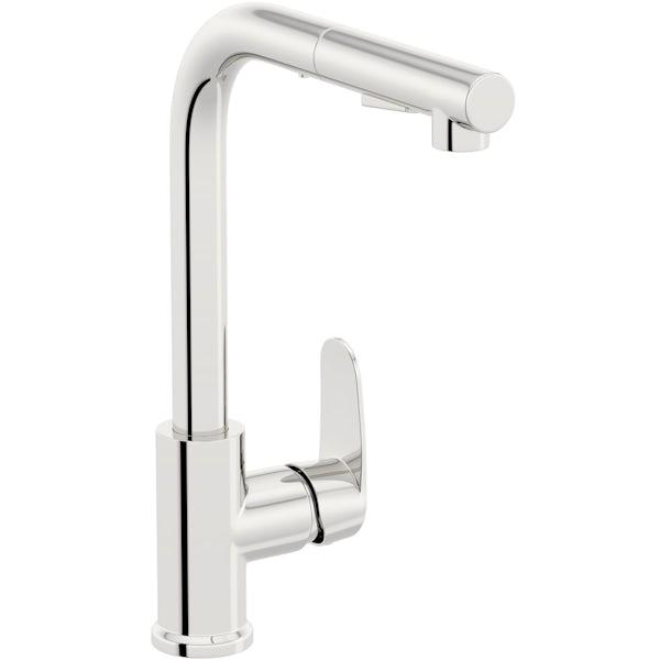 Schon Tresco Pro chrome single lever kitchen mixer tap with pull down spout