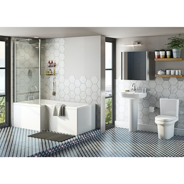 Mode Burton bathroom suite with left handed L shaped shower bath 1700 x 850
