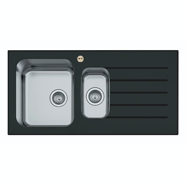 Bristan Gallery glacier black glass easyfit sink 1.5 bowl with right drainer