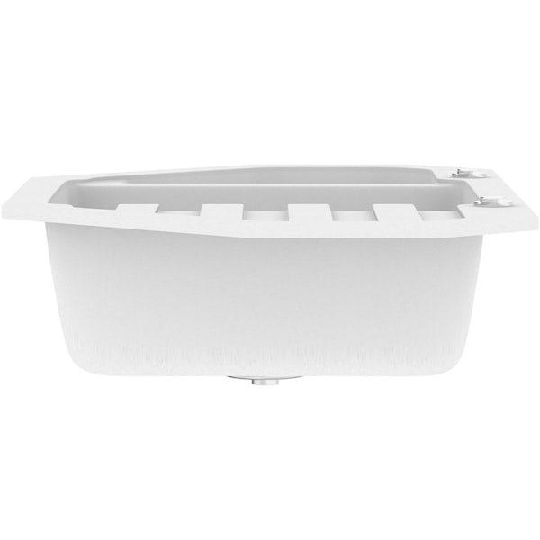 Schön Otranto chalk white 1.5 bowl right hand kitchen sink