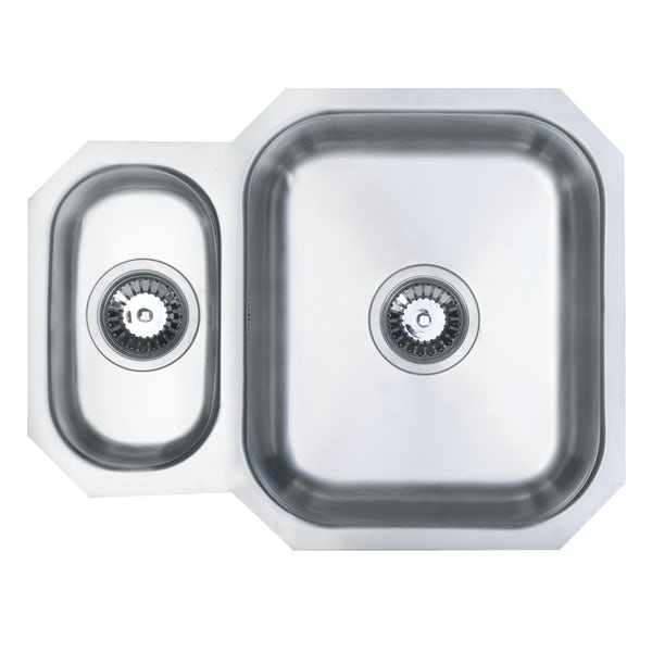 Schon Rydal universal classic undermount 1.5 bowl stainless steel kitchen sink with waste