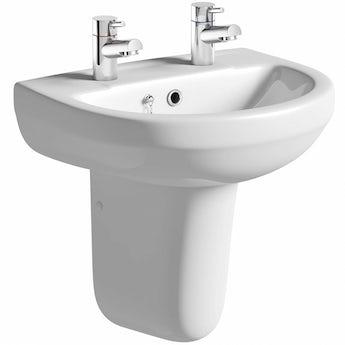 Orchard Wharfe 2 tap hole semi pedestal basin 550mm