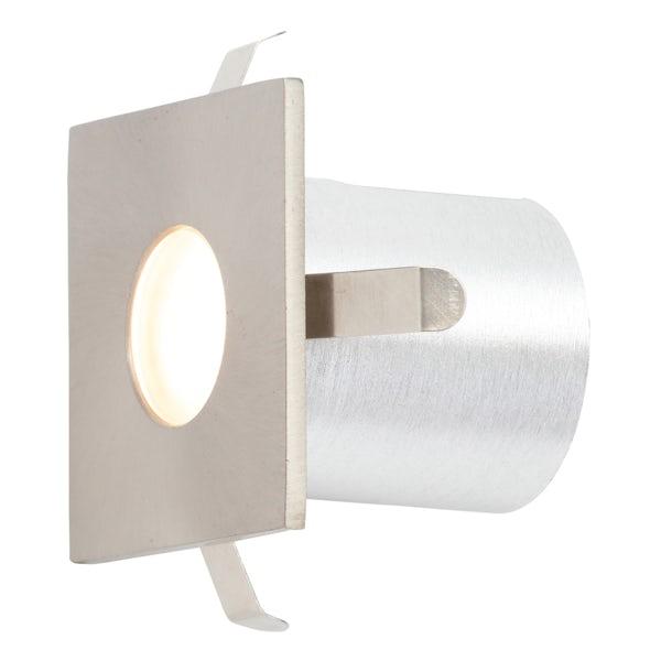 Forum Nembus square single brushed steel LED plinth light