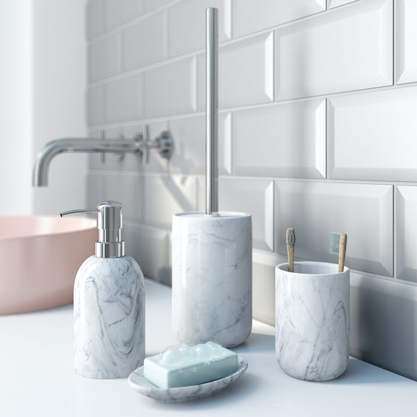Accents marble effect toilet brush holder