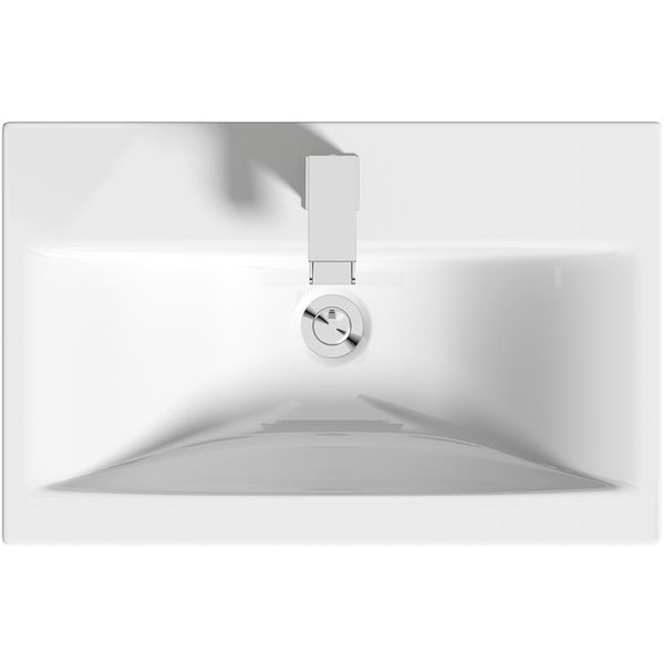 Clarity white wall hung vanity unit with black handle and ceramic basin 600mm