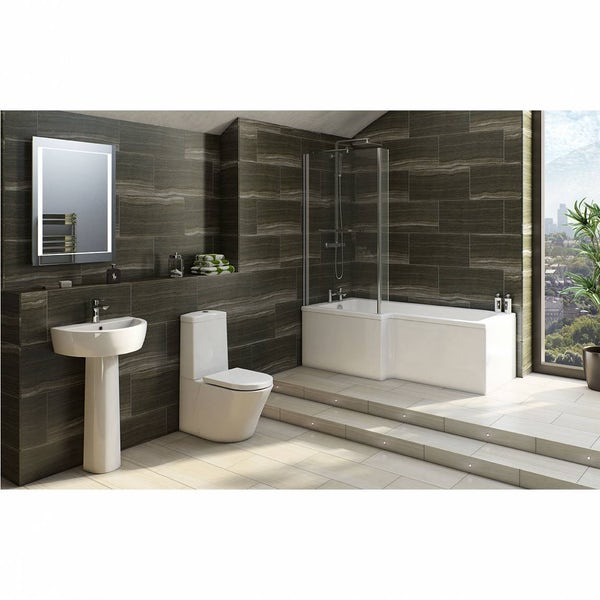 Mode Tate bathroom suite with left handed L shaped shower bath