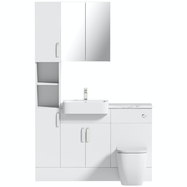 Mode Nouvel gloss white tall fitted furniture & mirror combination with white marble worktop
