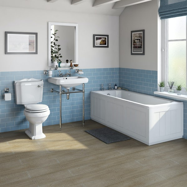 The Bath Co. Dulwich matt white washstand suite with straight bath 1700 x 700mm