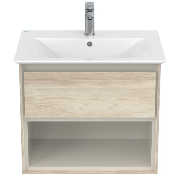 Ideal Standard Concept Air wood light brown open wall hung vanity unit and basin 600mm