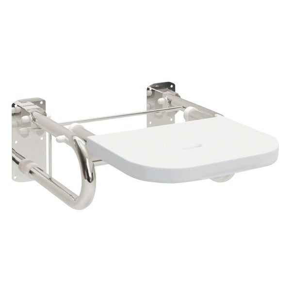 Dolphin commercial Doc M compliant stainless steel shower seat with white seat with mirror polish finish