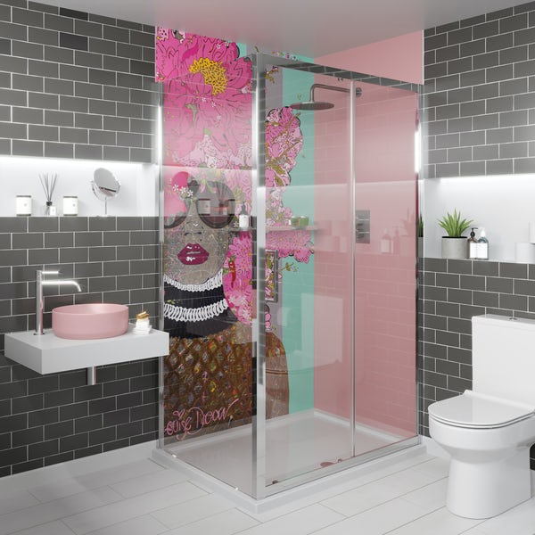 Louise Dear Kiss Kiss Bam Bam Light Pink acrylic shower wall panel pack with rectangular enclosure