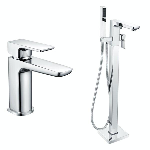 Mode Foster chrome basin and freestanding bath filler bathroom tap sets
