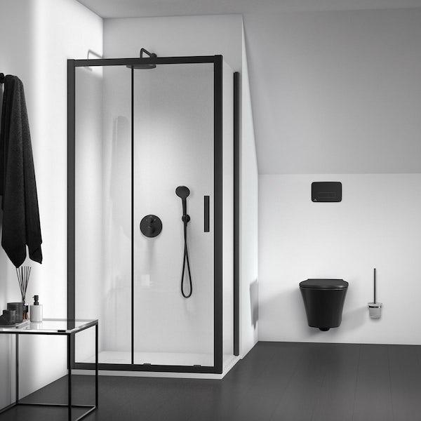 Ideal Standard Ceratherm silk black T100 round twin thermostatic shower valve