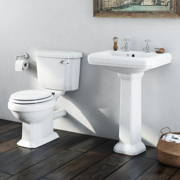 The Bath Co. Dulwich complete cloakroom suite with white seat and full pedestal basin 585mm