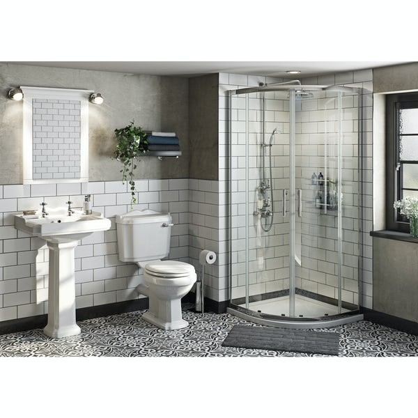 The Bath Co. Winchester ensuite suite with quadrant shower enclosure, tray and taps