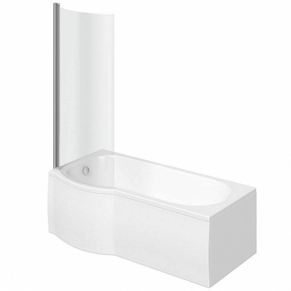 Clarity P shaped left handed shower bath 1500mm with 5mm shower screen