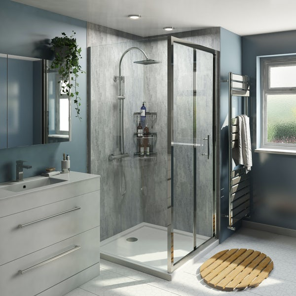 Multipanel Economy Urban Stucco Grey shower wall 2 panel pack