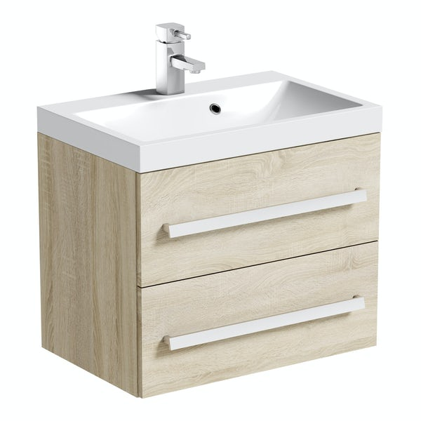Orchard Wye oak wall hung vanity unit and basin 600mm with tap