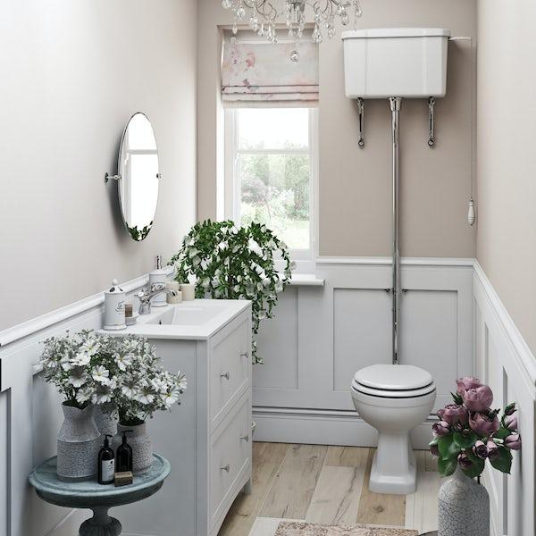 The Bath Co. Camberley white floorstanding vanity unit and ceramic basin 800mm