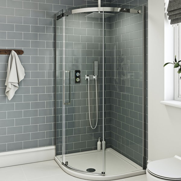 SmarTap black smart shower system with Mode 8mm frameless quadrant shower enclosure