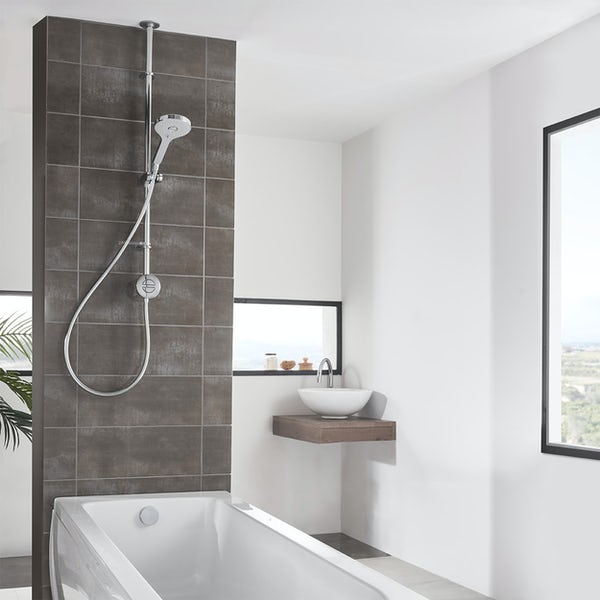 Aqualisa Unity Q Smart exposed shower standard with adjustable handset and bath filler with overflow