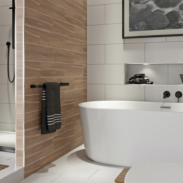 Mode Spencer black square single towel rail 600mm
