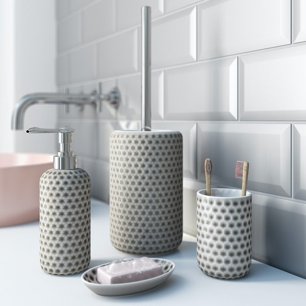 Accents grey polka dot soap dish