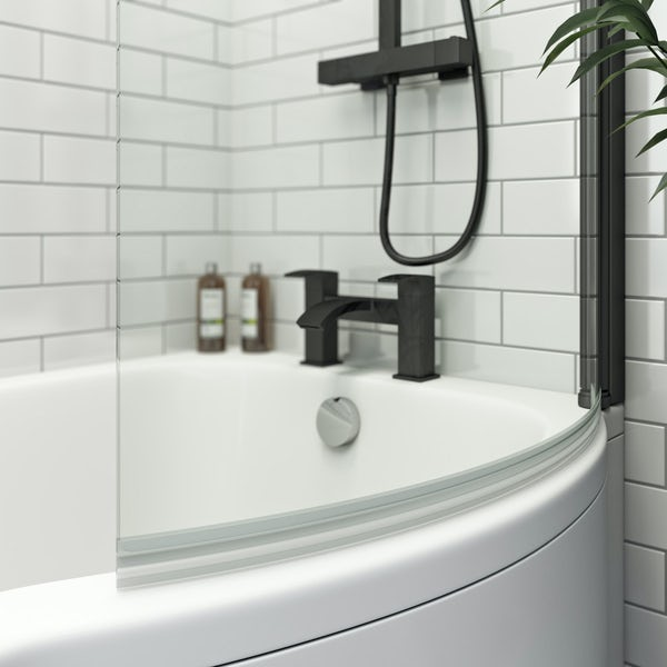Orchard P shaped right handed shower bath with 6mm matt black shower screen with rail 1500 x 850