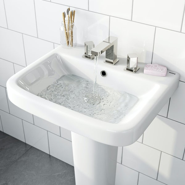 Mode Carter full pedestal 3 tap hole basin 550mm