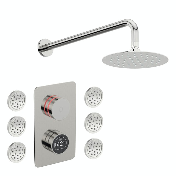 Mode Touch digital thermostatic shower valve with wall arm, round body jets and shower head set