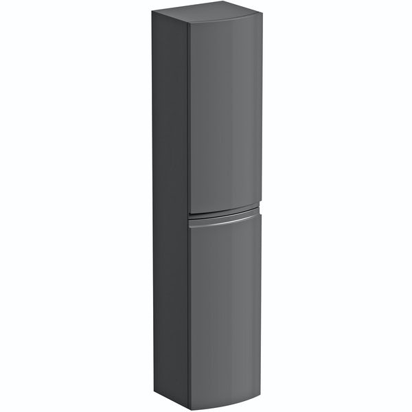 Mode Harrison slate gloss grey furniture package with right handed wall hung vanity unit 1000mm