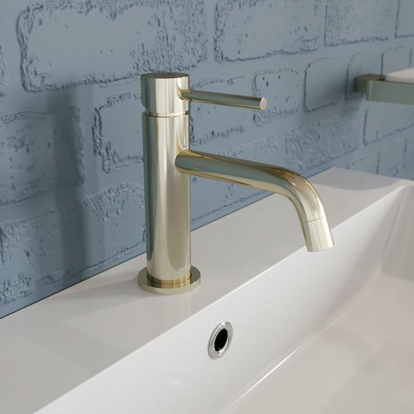 Mode Spencer gold basin and freestanding bath filler tap pack
